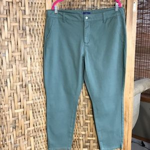 NYDJ Green Cotton Chino Ankle Pants